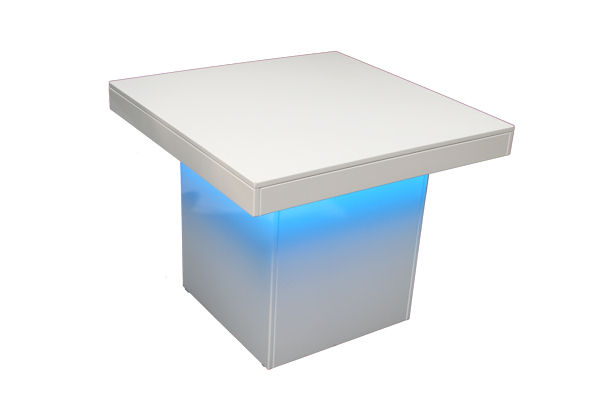Tafel Milano 95×95 cm Led (hoogglans wit) | Kaak Event Rent